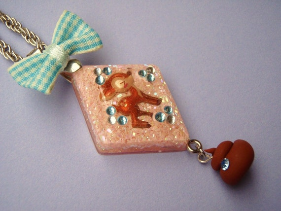 Happy Little Doe Making a Happy Little Doo Doo Under Resin Pendant Necklace Pink Blue Brown