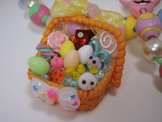 Miniature Easter Treats Charm Collage Spring Basket Pendant On A Pop Bead Necklace Pink blue Pirple Green yellow