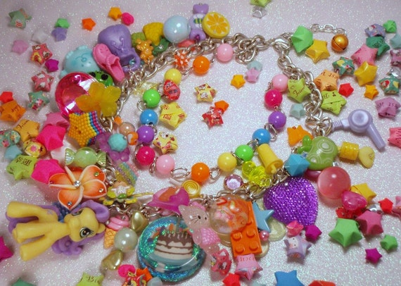 Sugar Explosion Candy Craze Dual Chain Beaded Toy Box Charm Necklace Rainbow Pink Purple Blue Green Yellow Orange