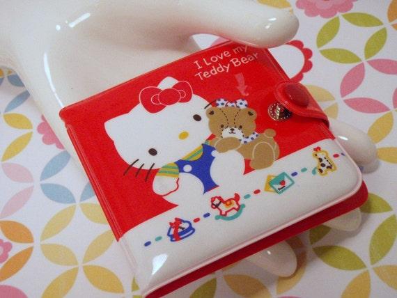 Vintage 80s Sanrio made in Japan Hello Kitty I Love My Teddy Bear Wallet