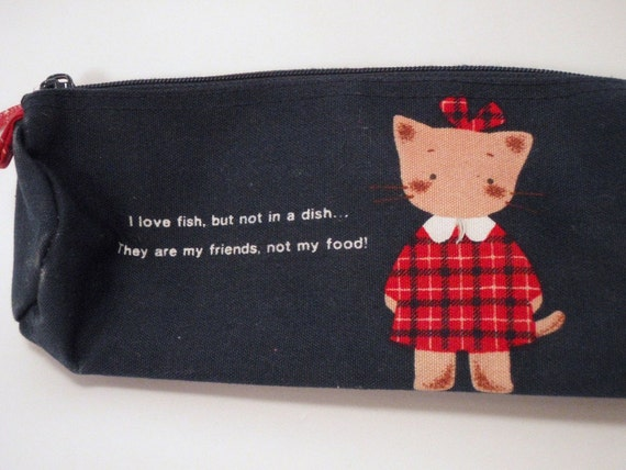 Sanrio made in Japan Winkipinky Kitten Fish are Friends Not Food Cloth Pencil Case