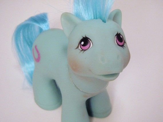 My Little Pony Baby Stallion Lucky Mail Order Boy G1 Pastel Blue and Pink MLP