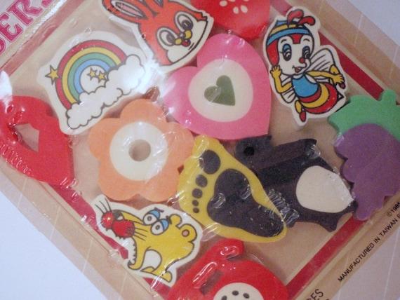 Pile of Random 80s Erasers Effaces Still in Package moc mib mip nrfb nrfp