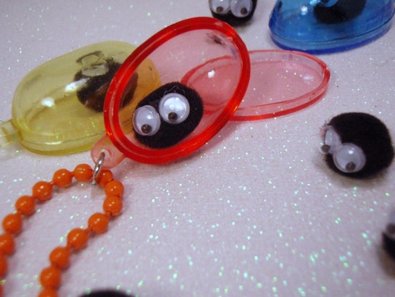 Buy one Get one Free AND Free Shipping Captured Soot Sprite Colorful Capsule You PICK Pendant Necklace Black Yellow Orange Purple Pink Blue