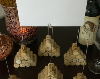 Tall Wine Cork Pyramid Table Number Holder, Photo Holder or Menu Card Holder - Set of 2