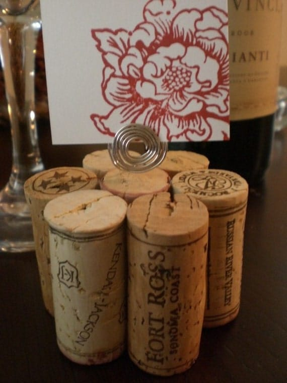 Wine Cork Table Number Holder, Photo Holder or Menu Card Holder - Set of 2
