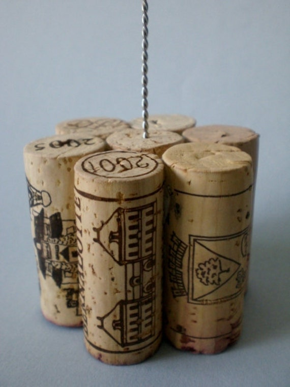 Tall Wine Cork Table Number Holder, Photo Holder Or Menu Card Holder   Set  Of 2   Featured On The Knot