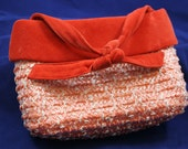 Vintage Velvet Orange and Raffia Purse