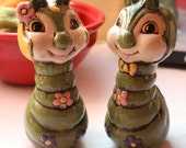 Trippy 1970s Caterpillar Salt and Pepper Shaker set : Moxie Deluxe