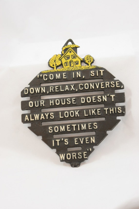TREASURY item: Funny Sayings Kitchen vintage plaque or trivet with fun saying Moxie Deluxe