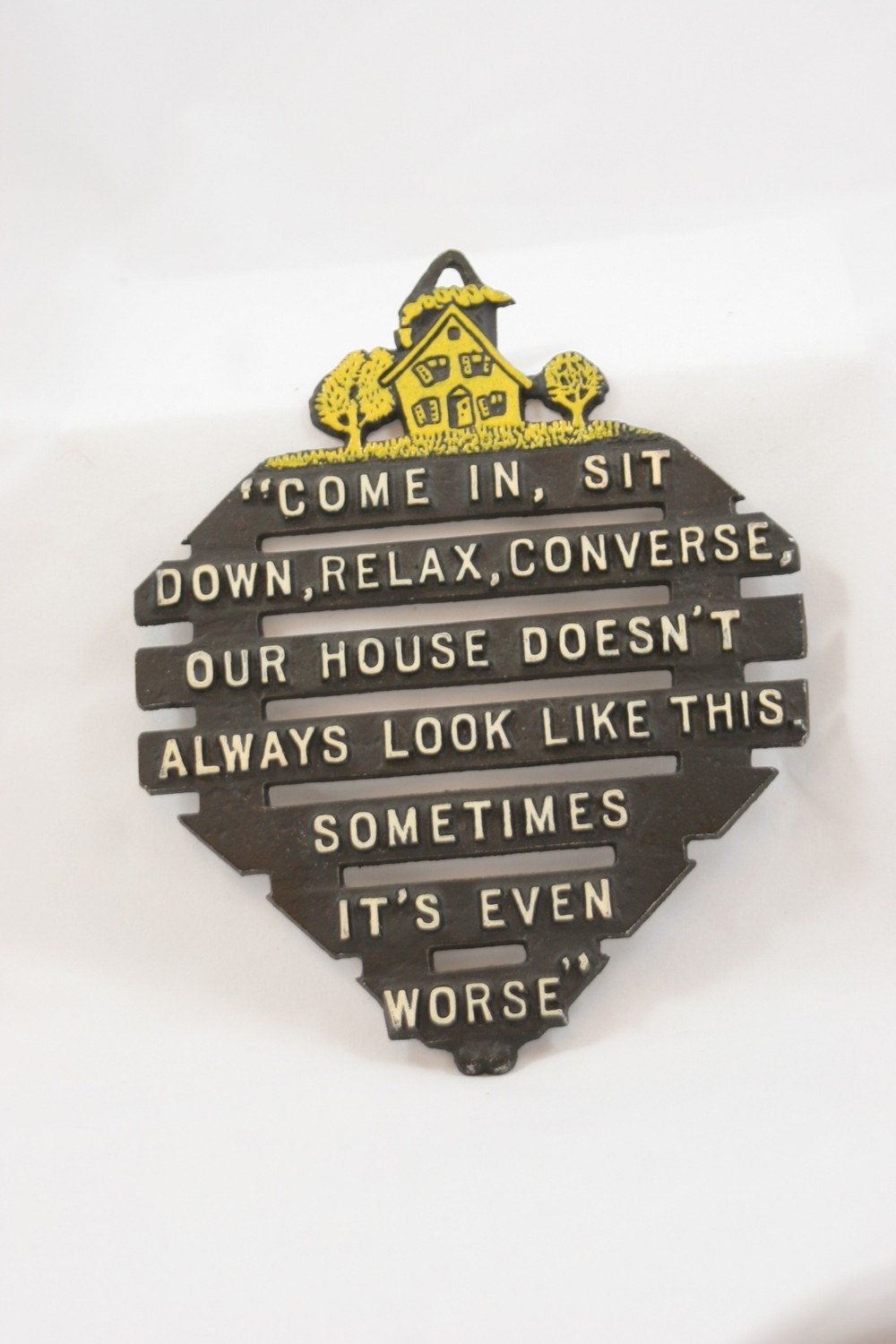 TREASURY item: Funny Sayings Kitchen vintage plaque or trivet