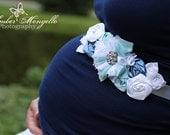 RESERVED for CHRISTINA NOTO -  Vintage Inspired Baby Boy Maternity Sash, Bridal Sash, Belt, Headband, Wedding -  Photo prop - Boy Blue