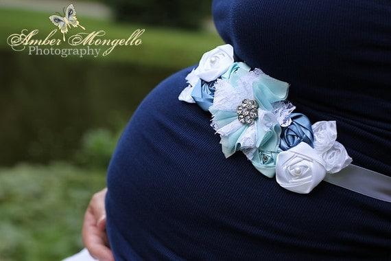 Baby Boy Maternity Sash, Blue Maternity Sash, Blue Belly Sash, Blue Maternity Belt, Blue Sash, Boy Sash, Blues & White