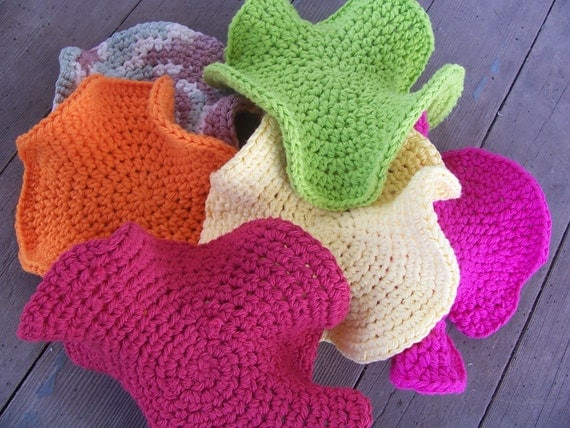 Set of 4- Your choice of colors- Practically Hyperbolic Dishcloth/Washcloths