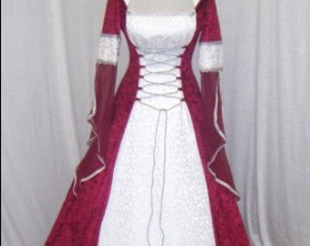 medieval dress, renaissance dress, handfasting dress, celtic wedding dress, elven dress, scottish widow hood, custom made