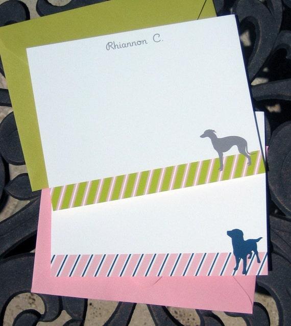 Modern Preppy Stripe Dog Silhouette Stationery - Personalized Flat Cards Set of 12 Labrador, Dacshund, Yorkie, Corgi