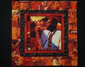 African American Man Jazz Club Saxophonist Quilt Top, Table Topper, Wall Hanging, with Keith Mallett fabric