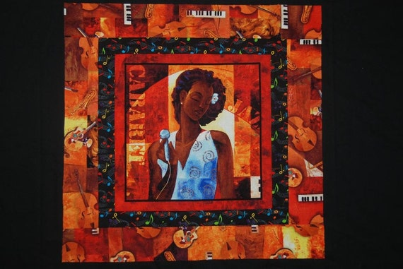 African American Woman Cabaret Jazz Singer Quilt Top Table