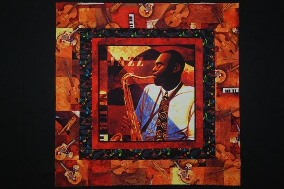 African American Man Jazz Club Saxophonist Quilt Top Table