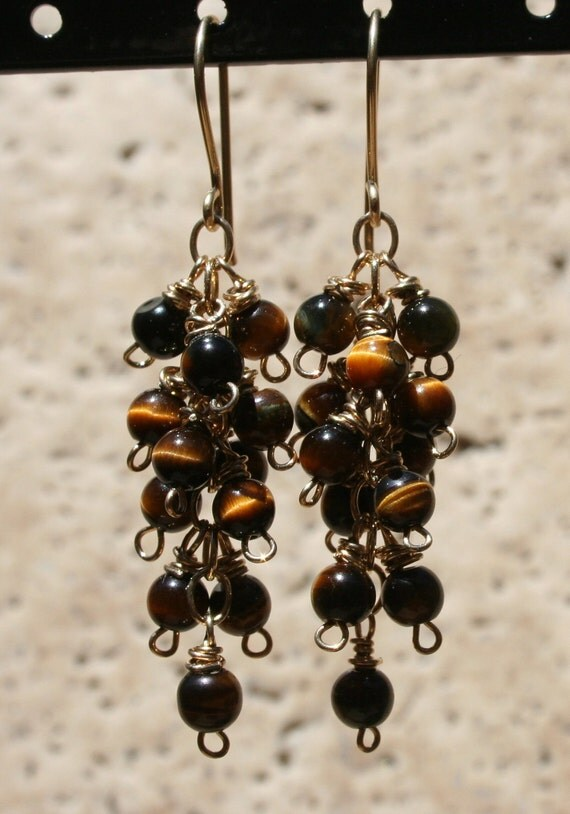 Tantalising Tiger's Eye Cluster Earrings-REDUCED 20% was 35.00 Golden Tiger's Eye 14kt Goldfilled Hand Wire Wrapped