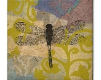 Dragonfly Tile Lavender and Yellow