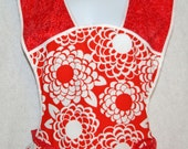 Red Dahlia Vintage Style Apron Free Shipping - AGiftToTreasure