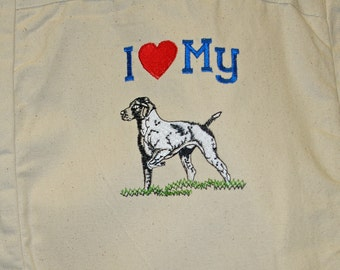 Bird Dog Tote, Love My Dog, Book, Market, Library, IPad, School, Personalize With Name No, Shipping Charge, Ready To Ship TODAY, AGFT 540