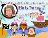 Boy or Girl Custom Digital Birthday Invitation or Baby Shower for a 5x7 Digital File-Girl Pirate Birthday Pirate