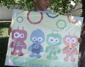 Robot Friends Come in all Colors.... Large 16x20 Gallery Wrapped Canvas..Custom Art for Kids Rooms..Nursery Art.