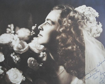 DREAMY BRIDE, Vintage Sepia Full Studio Photograph of a Bride from 1948