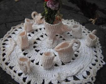1940 Gorgeous Miniature Crocheted Coffee Set Unique