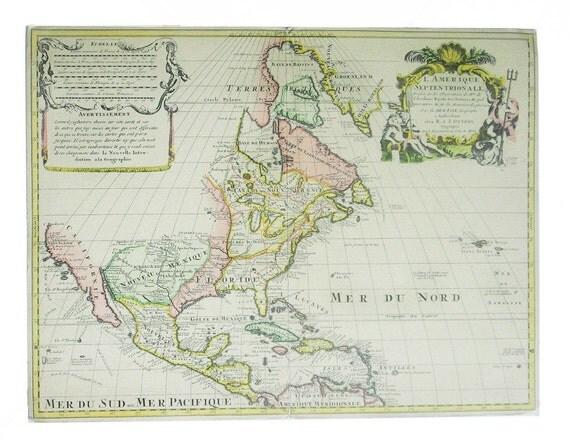AMERICA map 1940 reprint of aprox. 1778 Hoffman- La Roche Collection