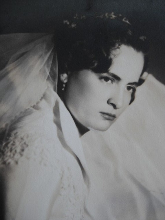 UNHAPPY BRIDE, Vintage Full  Studio Photograph of a Bride from 1951