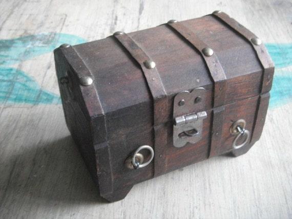 Treasure Chest Antique Childs Wooden Money Jewelry Trinket  Box