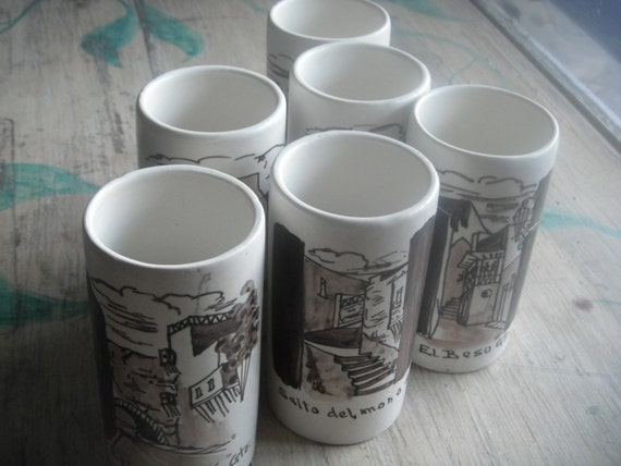 Gorgeous SET of 6 unique MEXICAN handmade and handpainted ceramic Glasses- Guanajuato, MEXICO