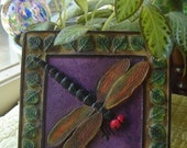 Rainbow Chalk Painted Dragonfly With Purple Background - Earth Tone Leaves & Brown Trimmed Border Frame - Plaster Tile