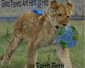 Earth First - Lion Cub - Blank Notecard OR Choose the Occasion AND the Inscription - greeting card -stationary - custom greeting