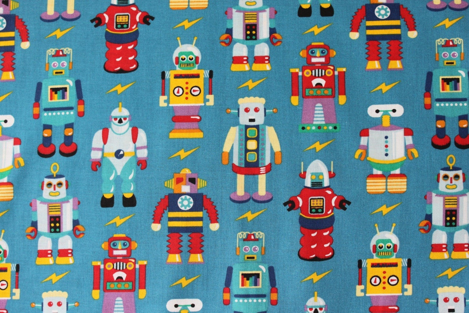 Vintage olive kids robot fabric 1 2 yard hard to by for Kids fabric by the yard