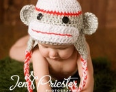 Boy Sock Monkey Earflap Hat in Gray