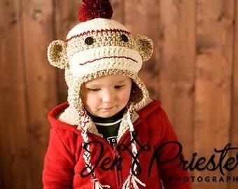 Boy Sock Monkey Earflap Hat