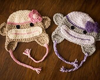Girl Sock Monkey Earflap Hat in Gray