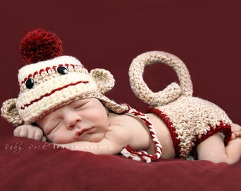 Boy Sock Monkey Set--Hat and Diaper Cover