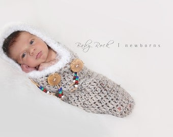 "Native American ""Papoose"" Hooded Cocoon--Newborn Photography Prop"