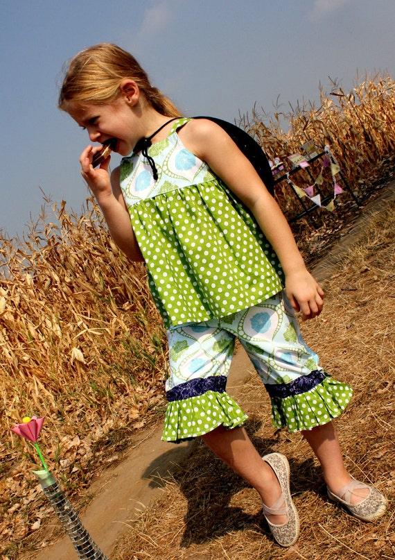 CHLOE Ruffle Pants with bow ties - Pdf tutorial - ebook - 3M-8Y