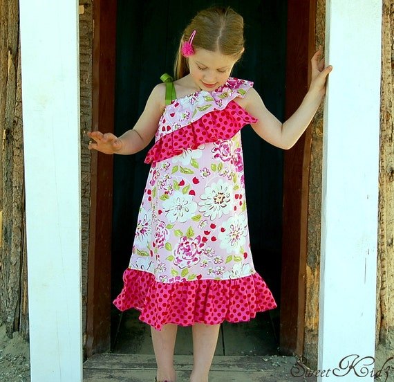 SAVANNAH ONE Shoulder top/dress - Pdf Pattern - Sizes 3M -Girls 12y