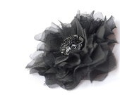 Black Organza Fabric Brooch