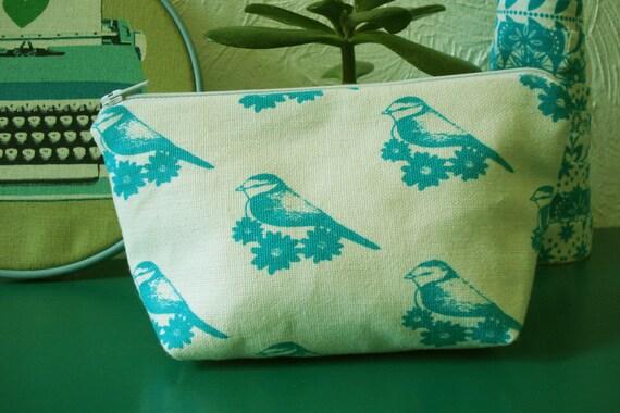 English Blue Tit Bird screen printed zipped pouch