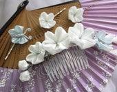 CUSTOM ORDER for gaminesteak1  Glorious sakura white silk kanzashi set: comb and 3 hair pins