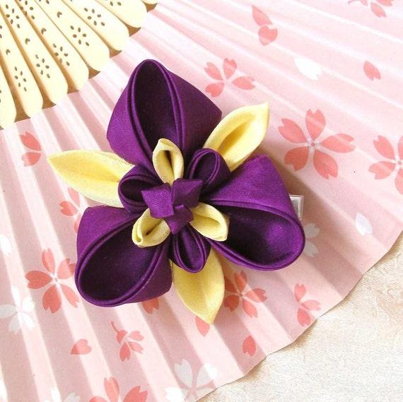 Iris purple and yellow silk kanzashi alligator clip