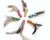 Bad Kitten Birdie- Eco-Friendly Cat Toy made from Recycled Tee Shirts and Cruelty-Free Feathers